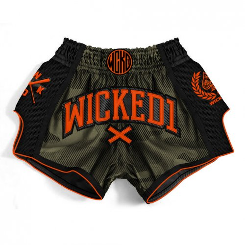 Wicked One Muay Thai/Kickbox Shorts Camo Khaki