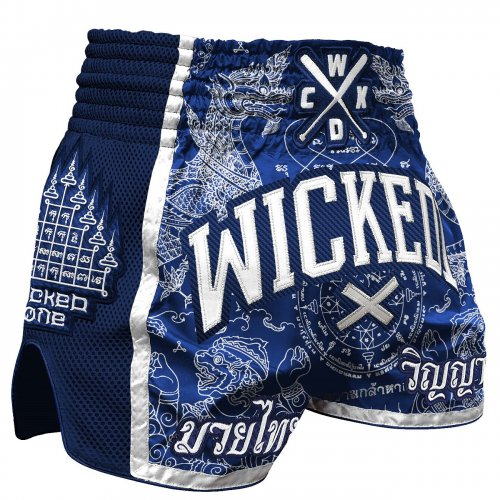 Wicked One Muay Thai Shorts Dragon Thai Blau