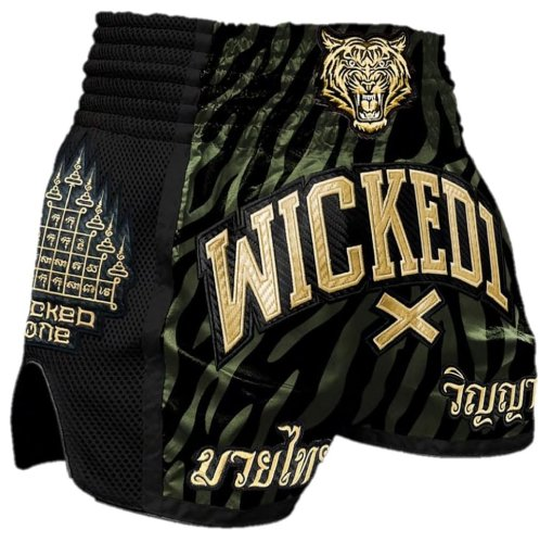 Wicked One Muay Thai Shorts Tiger Stripes Khaki