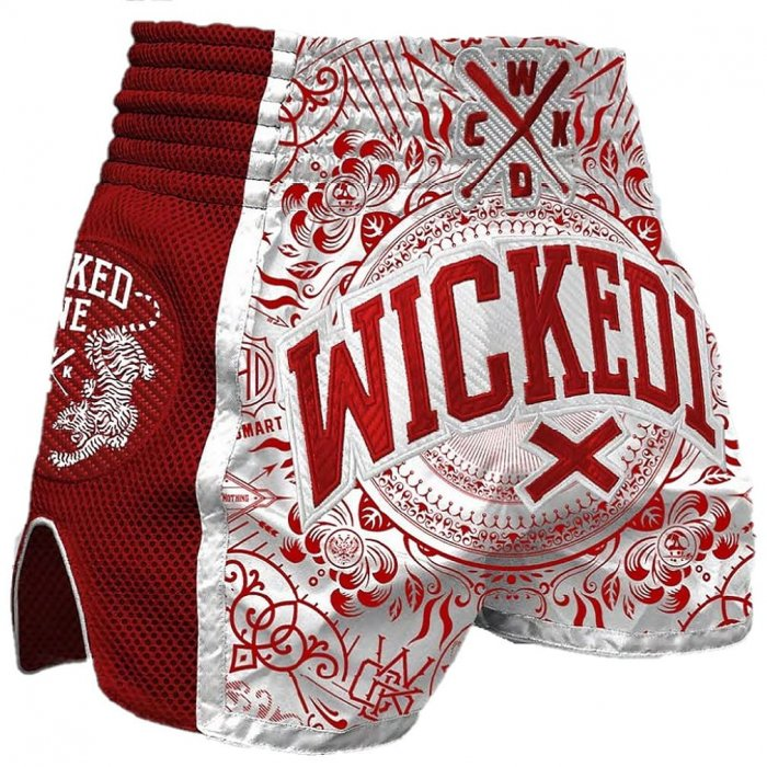 Wicked One Muay Thai Shorts Brain Weiß/Rot